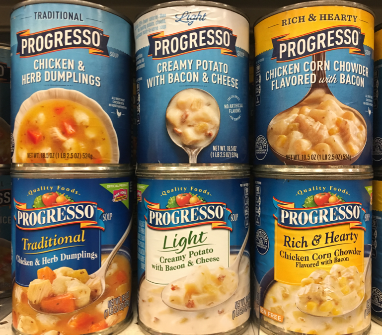 Featured photo: Progresso's new soup packaging design for their Traditional, Light and Rich & Hearty varieties atop their old can labels.