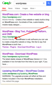 Search results ranking with 'mobile-friendly' tag